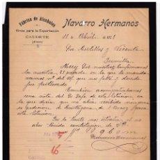 Cartas comerciales: FÁBRICA ALCOHOLES. VINOS PARA EXPORTACIÓN. NAVARRO HERMANOS. CAUDETE. ALBACETE. 1905.. Lote 143039006