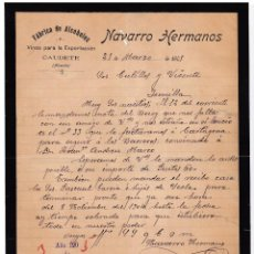 Cartas comerciales: FÁBRICA ALCOHOLES. VINOS PARA EXPORTACIÓN. NAVARRO HERMANOS. CAUDETE. ALBACETE. 1905.. Lote 143039586