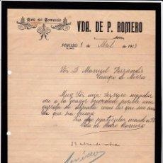 Cartas comerciales: CAFÉ DEL COMECIO. VIUDA ROMERO. PINOSO. ALICANTE. 1917.. Lote 143040406