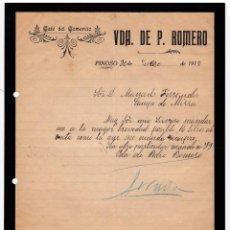 Cartas comerciales: CAFÉ DEL COMECIO. VIUDA ROMERO. PINOSO. ALICANTE. 1917.. Lote 143040486
