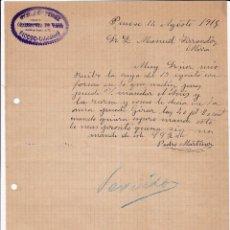 Cartas comerciales: COMISIONISTA DE VINOS. PEDRO MARTÍNEZ. PINOSO. ALICANTE. 1915.. Lote 143040698