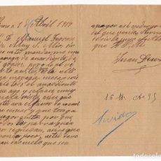 Cartas comerciales: CARTA COMERCIAL. AGUARDIENTE. PINOSO. ALICANTE. 1917. TAMAÑO CUARTILLA. Lote 143042314