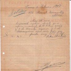 Cartas comerciales: COMISIONISTA DE VINOS. PEDRO MARTÍNEZ. PINOSO. ALICANTE. 1917.. Lote 143042778