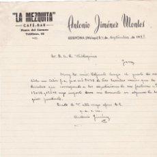 Cartas comerciales: CARTA COMERCIAL. ANTONIO JIMENEZ MONTES. LA MEZQUITA. CAFÉ-BAR. MÁLAGA 1951. Lote 143365950