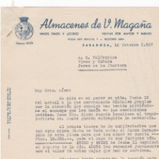 Cartas comerciales: CARTA COMERCIAL. ALMACENES DE V.MAGAÑA. VINO FINOS Y LICORES. ZARAGOZA 1957. Lote 143366994
