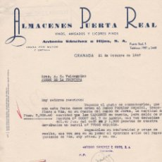 Cartas comerciales: CARTA COMERCIAL. ALMACENES PUERTA REAL. VINOS, ANISADOS Y LICORES FINOS. GRANADA 1957. Lote 143376622