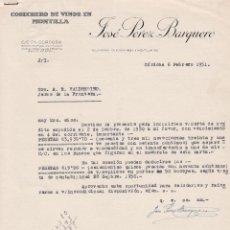 Cartas comerciales: CARTA COMERCIAL. JOSÉ PÉREZ BARQUERO. COSECHERO DE VINOS EN MONTILLA. CÓRDOBA 1951. Lote 143381186