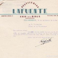 Cartas comerciales: CARTA COMERCIAL. LA FUENTE. DESTILERÍAS. CALAHORRA 1954. Lote 143382334