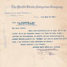 Cartas comerciales: CARTA COMERCIAL. THE PACIFIC STRAM NAVIGATION COMPANN. SOBRINOS DE JOSÉ PASTOR. VIGO 1930. Lote 143388222