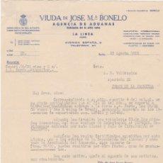 Cartas comerciales: CARTA COMERCIAL. VIUDA DE JOSÉ Mª BONELO. AGENCIA DE ADUANAS. LA LÍNEA. CÁDIZ 1958. Lote 143396998