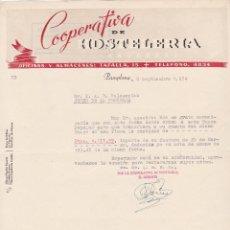 Cartas comerciales: CARTA COMERCIAL. COOPERATIVA DE HOSTELERIA. PAMPLONA 1954. Lote 143403698
