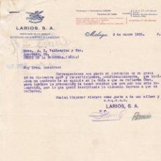 Cartas comerciales: CARTA COMERCIAL. LARIOS, S.A. PROPIETARIOS DE LA ANTIGUA BODEGA DE JIMENES & LAMOTHE. MÁLAGA 1936. Lote 143589306