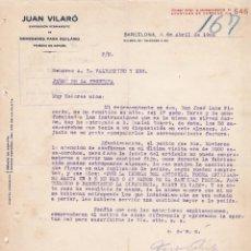 Cartas comerciales: CARTA COMERCIAL. JUAN VILARÓ. EXPOSICIÓN PERMANENTE. NOVEDADES PARA RECLAMO. BARCELONA 1922. Lote 143675882