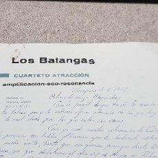 Cartas comerciales: CORRESPONDENCIA...CARTA ESCRITA POR EL CUARTETO ATRACCION LOS BATANGAS...1963.... Lote 144213038