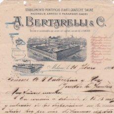 Cartas comerciales: CARTA COMERCIAL. A.BERTARELLI & C. STABILIMENTO PONTIFICIO D´ARTI GRAFICHE SACRE. MILANO 1905. Lote 144312882