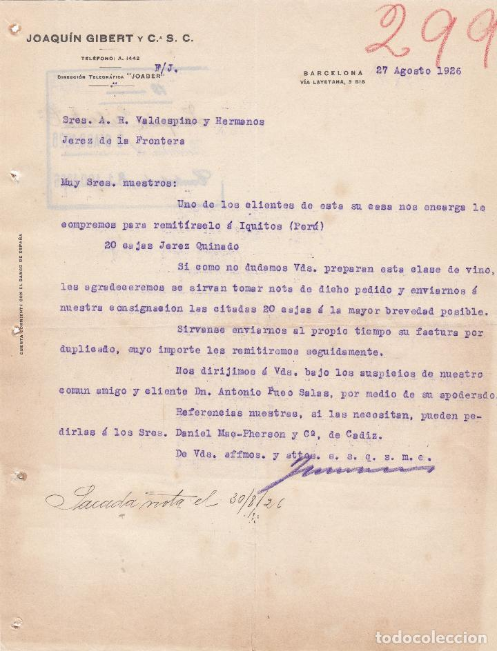 Carte Csc Barcelone.Carta Comercial Joaquin Gibert Y C S C Barcelona 1926