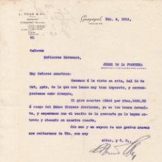 Lettres commerciales: CARTA COMERCIAL. L.TOUS & Cº. GUAYAQUIL 1914. Lote 144599282