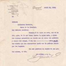 Lettres commerciales: CARTA COMERCIAL. L.TOUS & Cº. GUAYAQUIL 1915. Lote 144599346