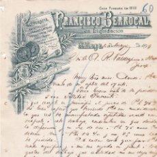 Cartas comerciales: CARTA COMERCIAL. FRANCISCO BERROCAL. LITOGRAFÍA. GRABADOS. MÁLAGA 1899. Lote 144933130