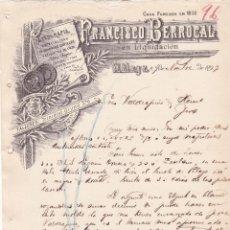 Cartas comerciales: CARTA COMERCIAL. FRANCISCO BERROCAL. LITOGRAFÍA. GRABADOS. MÁLAGA 1899. Lote 144951470