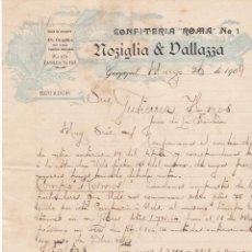 Lettres commerciales: CARTA COMERCIAL. NOZIGLIA & DALLAZZA. CONFITERÍA ROMA. GUAYAQUIL 1909. Lote 145162854