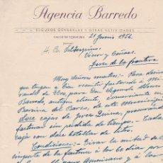 Cartas comerciales: CARTA COMERCIAL. AGENCIA BARREDO. SEGUROS GENERALES Y OTRAS ACTIVIDADES. VALLE DE TOBALINA 1956. Lote 145349482