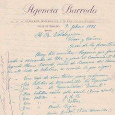 Cartas comerciales: CARTA COMERCIAL. AGENCIA BARREDO. SEGUROS GENERALES Y OTRAS ACTIVIDADES. VALLE DE TOBALINA 1956. Lote 145351622