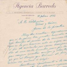 Cartas comerciales: CARTA COMERCIAL. AGENCIA BARREDO. SEGUROS GENERALES Y OTRAS ACTIVIDADES. VALLE DE TOBALINA 1956. Lote 145351670