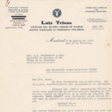 Cartas comerciales: CARTA COMERCIAL. LUIS TRIANA. ABOGADO DE MADRID. MADRID 1939. Lote 145354890