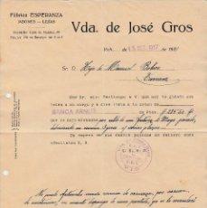 Cartas comerciales: GUERRA CIVIL - CARTA COMERCIAL DE FAB. ESPERANZA DE VDA. DE JOSÉ GROS EN VIC -1937- CONTROL CNT UGT. Lote 145413958