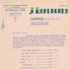 Cartas comerciales: CARTA COMERCIAL. J. ESPLUGUES. CENTRO DE REPRESENTACIONES EN GENERAL. VALENCIA 1932. Lote 145492058