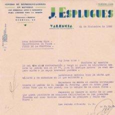 Cartas comerciales: CARTA COMERCIAL. J. ESPLUGUES. CENTRO DE REPRESENTACIONES EN GENERAL. VALENCIA 1932. Lote 145492466
