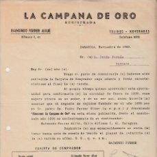 Cartas comerciales: CARTA COMERCIAL DE LA CAMPANA DE ORO DE RAIMUNDO FERRER EN ZARAGOZA 1941. Lote 145739314