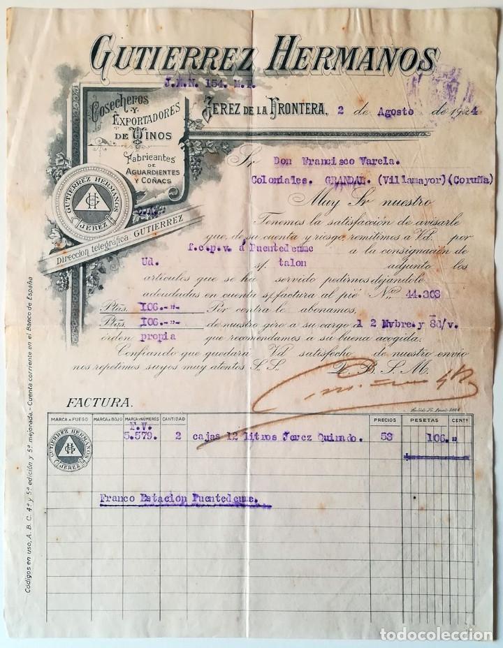 GUTIERREZ HERMANOS. JEREZ DE LA FRONTERA. 1924 (Coleccionismo - Documentos - Cartas Comerciales)