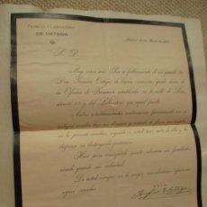 Cartas comerciales: TRASPASO DE PROPIEDAD POR FALLECIMIENTO FARMACIA DE ORTEGA, CALLE DE LEÓN, 13, MADRID 1904. Lote 147424746