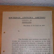 Cartas comerciales: CARTA COMERCIAL SOCIEDAD ANONIMA ASENSIO, BARCELONA, AÑO 1929. Lote 147559174