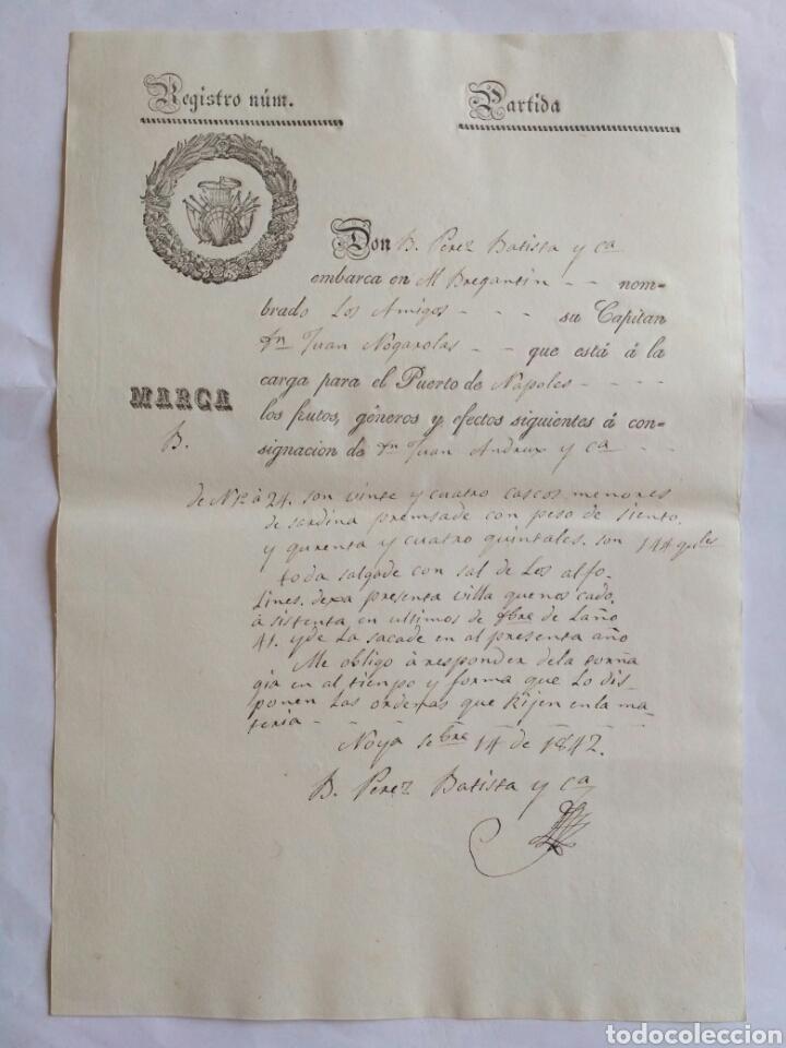 HOJA DE REGISTRO DE EMBARQUE, NOYA 1842. LA CORUÑA. (Coleccionismo - Documentos - Cartas Comerciales)