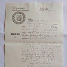 Cartas comerciales: HOJA DE REGISTRO DE EMBARQUE, NOYA 1842. LA CORUÑA.. Lote 148909444