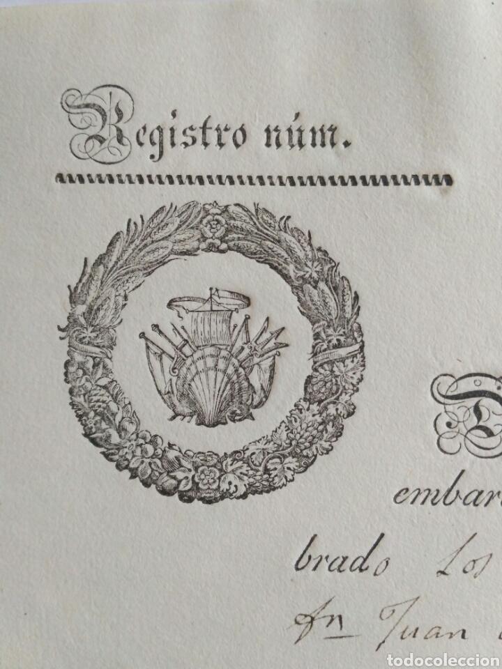 Cartas comerciales: Hoja de registro de embarque, Noya 1842. La Coruña. - Foto 2 - 148909444