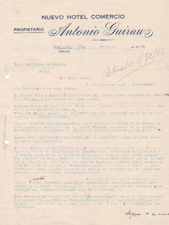 CARTA COMERCIAL. NUEVO HOTEL COMERCIO. ANTONIO GUIRAUZ. PROPIETARIO. VILLARROBLEDO. ALBACETE 1930 (Coleccionismo - Documentos - Cartas Comerciales)