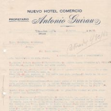 Cartas comerciales: CARTA COMERCIAL. NUEVO HOTEL COMERCIO. ANTONIO GUIRAUZ. PROPIETARIO. VILLARROBLEDO. ALBACETE 1930. Lote 148913514