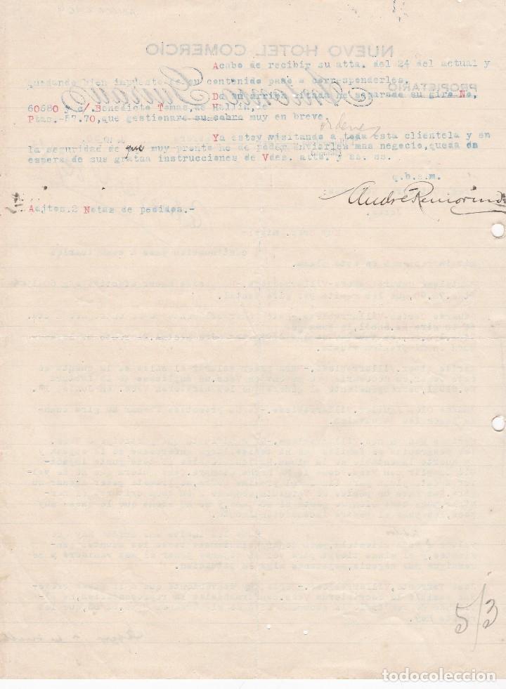 Cartas comerciales: Carta comercial. Nuevo Hotel Comercio. Antonio Guirauz. Propietario. Villarrobledo. ALbacete 1930 - Foto 2 - 148913514