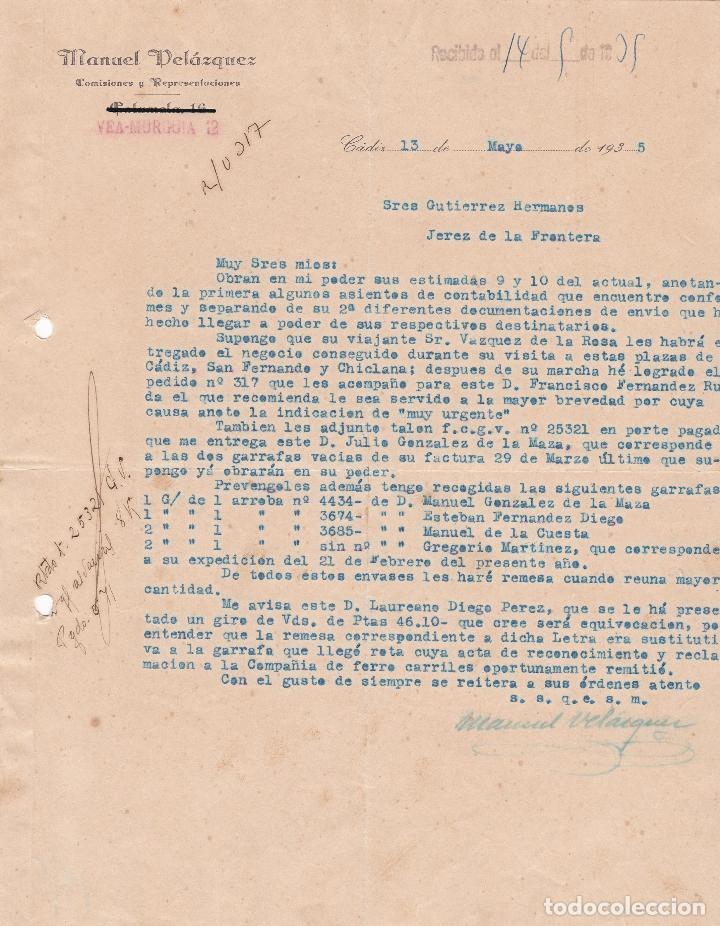 CARTA COMERCIAL. MANUEL VELÁZQUEZ. COMISIONES Y REPRESENTACIONES. CÁDIZ 1935 (Coleccionismo - Documentos - Cartas Comerciales)