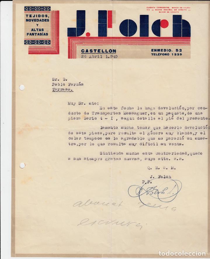 CARTA COMERCIAL DE TEJIDOS J. FOLCH EN CASTELLÓN (Coleccionismo - Documentos - Cartas Comerciales)