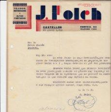 Cartas comerciales: CARTA COMERCIAL DE TEJIDOS J. FOLCH EN CASTELLÓN . Lote 149228050