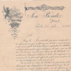 Cartas comerciales: CARTA COMERCIAL. JOSÉ BENITEZ. ESTABLECIMIENTO TIPO-LITOGRÁFICO. CÁDIZ 1893. Lote 149240198