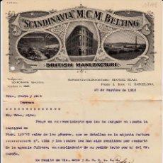 Cartas comerciales: CARTA COMERCIAL DE SCANDINAVIA M.C.M. BELTING EN BARCELONA - 1916. Lote 149339658
