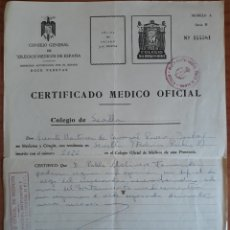 Cartas comerciales: CERTIFICADO COLEGIOS MÉDICOS DE ESPAÑA 1956. Lote 150942897