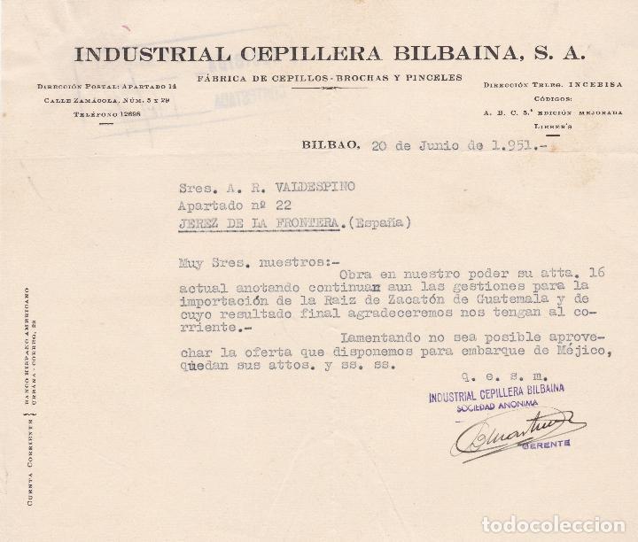 CARTA COMERCIAL. INDUSTRIAL CEPILLERÍA BILBAINA, S.A. FÁBRICA DE CEPILLOS. BILBAO 1951 (Coleccionismo - Documentos - Cartas Comerciales)