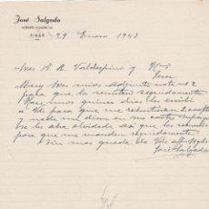 Cartas comerciales: CARTA COMERCIAL. JOSÉ SAGADO. AGENTE COMERCIAL. EIBAR 1943. Lote 151071130